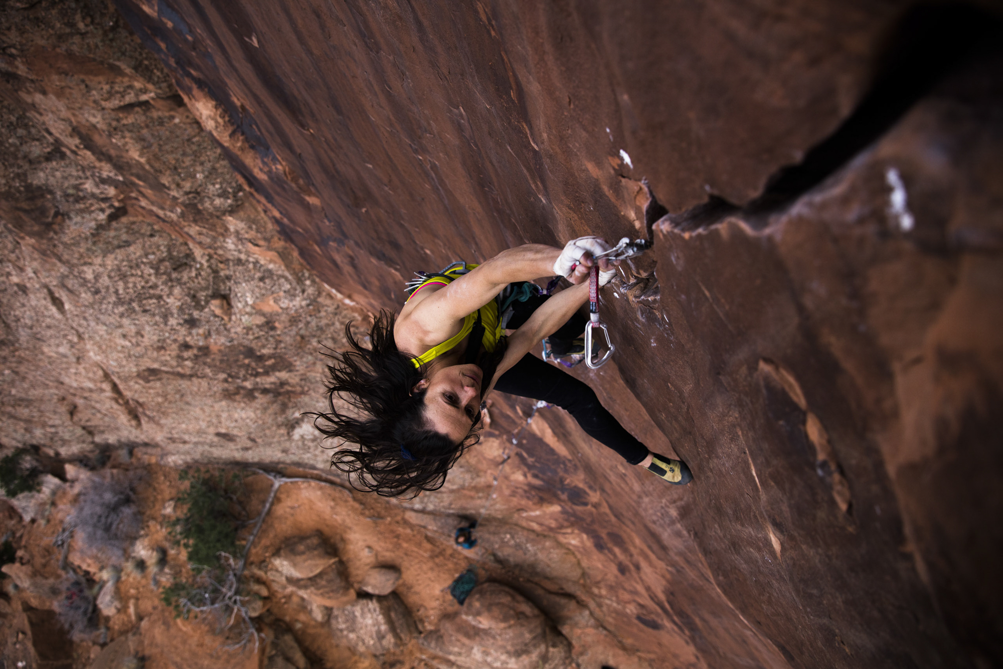 Steph Davis ascends The Joker 5.12+, Moab, Utah/Photo by Krystle Wright