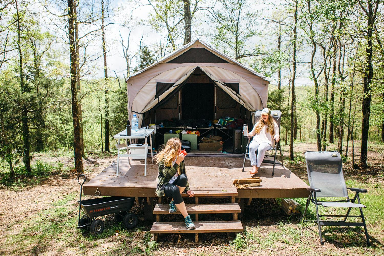 women platform camping